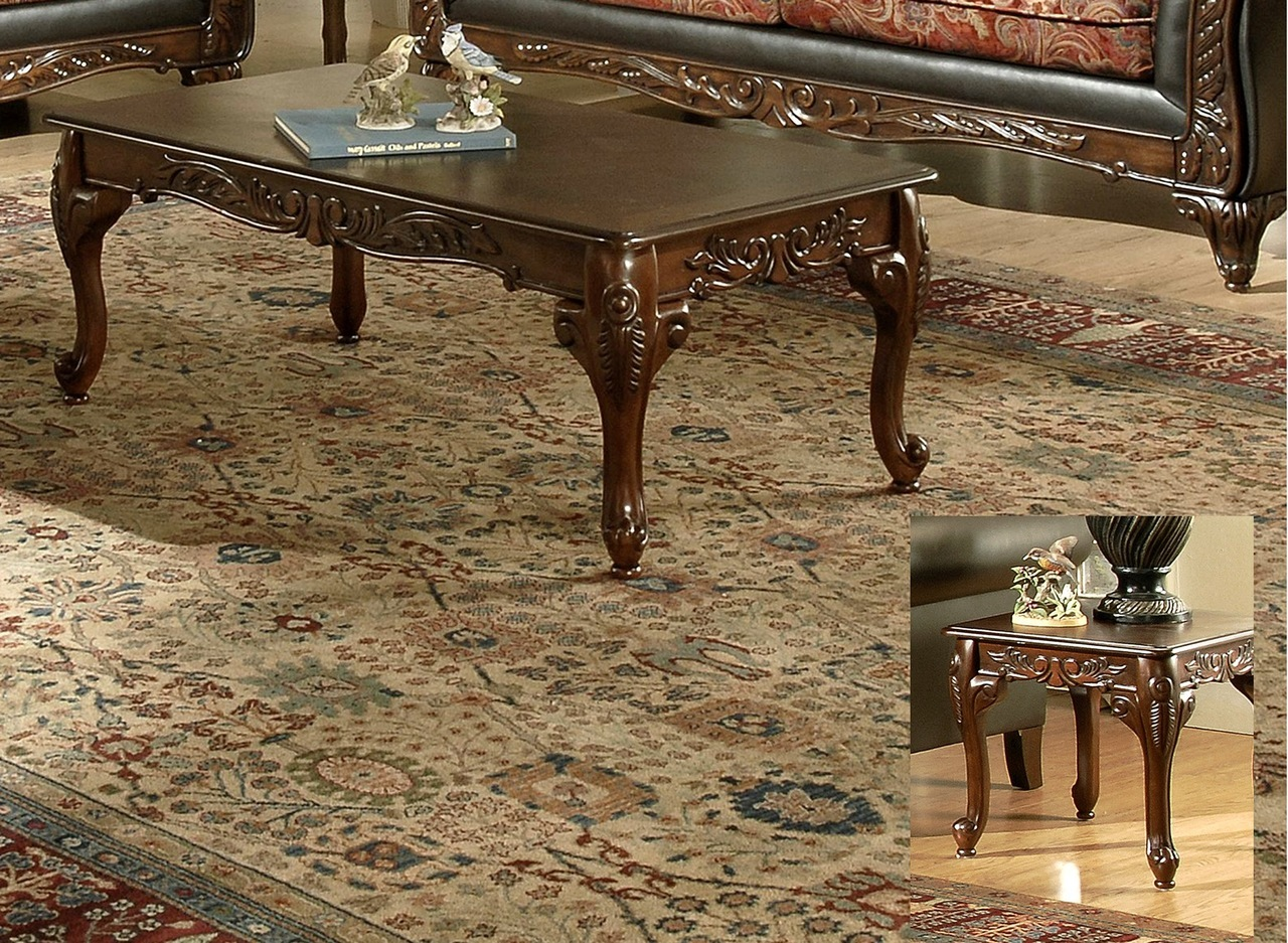 3177 Walnut Carved Coffee Table and 2 End Tables $395