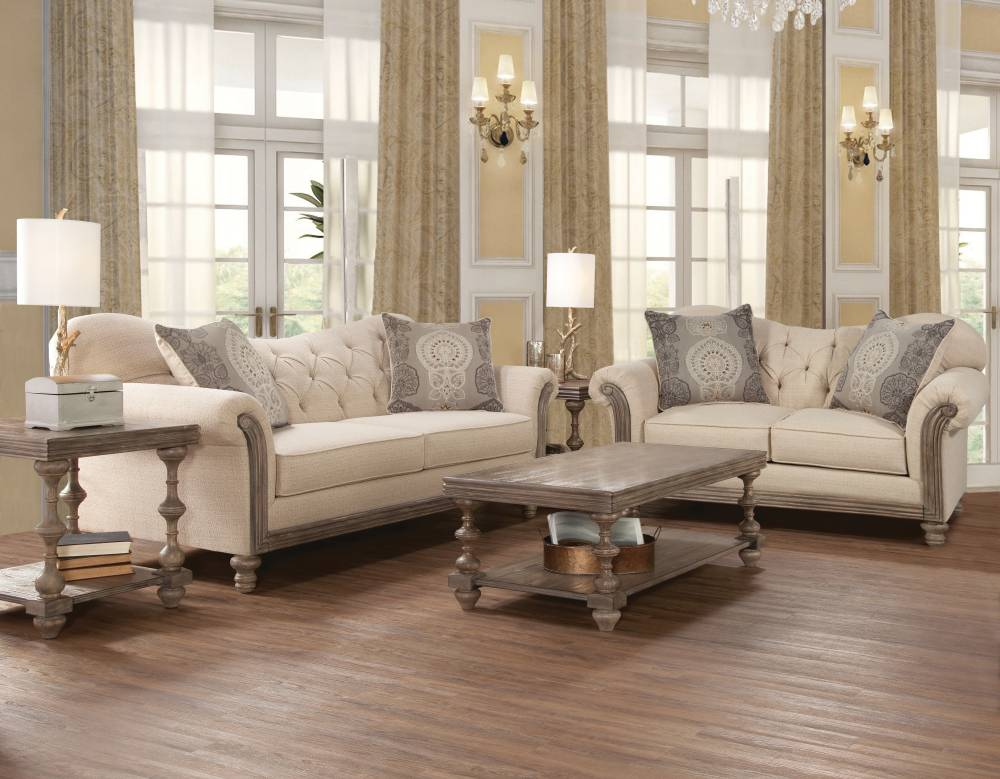 8725 New Siam Parchment Sofa and Loveseat $959
