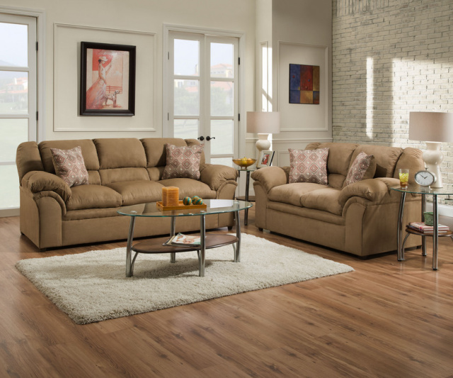 1720 Sofa and Loveseat in Venture Latte and Chocolate 15 $895