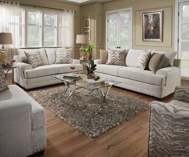 6547 Beautyrest Sofa and Loveseat with Silver Nailhead Trim in Grenada Natural  $895