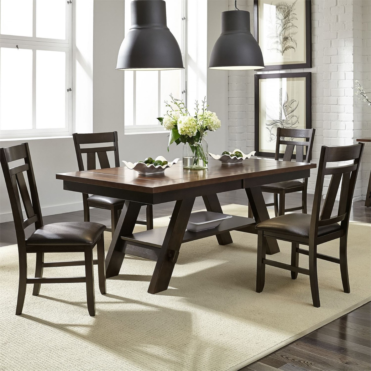 116 Pedestal Table, 4 Side Chairs, and 1 Bench $989