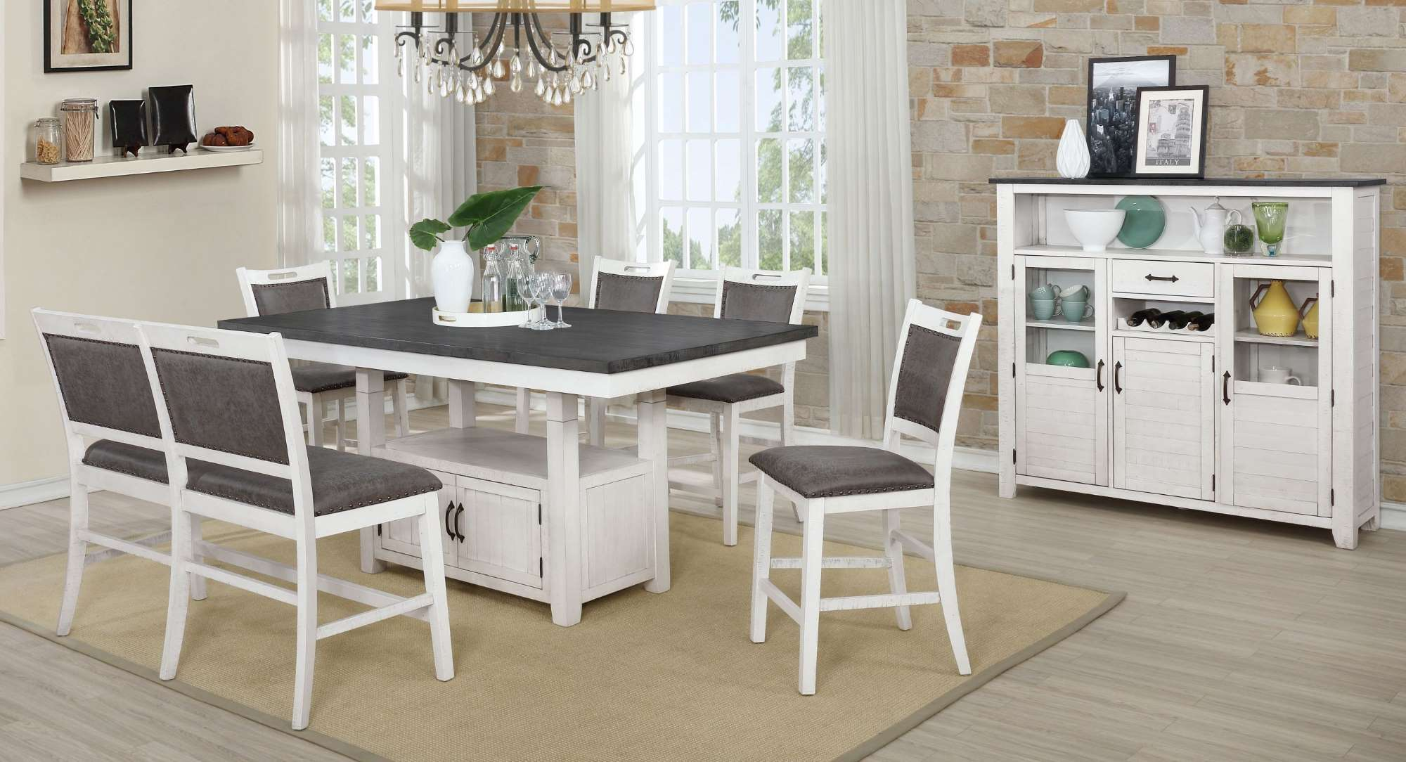1852 Jonah Counter Height Tables 4 Stools + Bench $979.99
