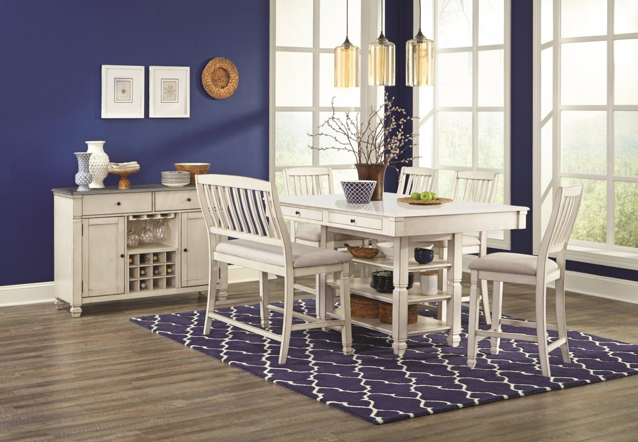 1734 Counter Height Dining Table + 4 Stools w/Bench $879.99