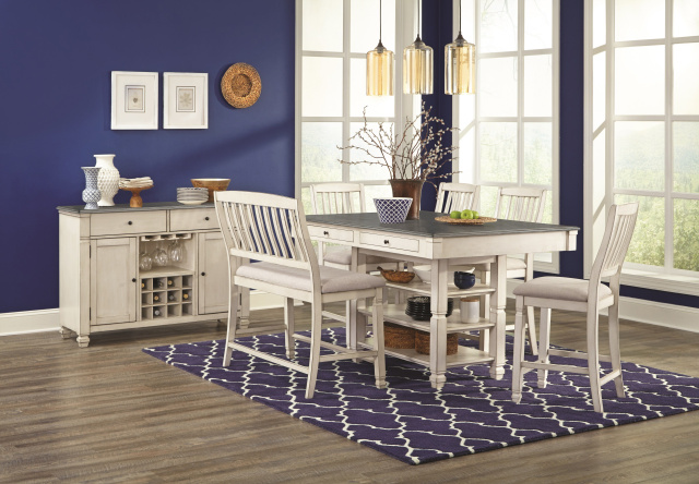 1735 Counter Height Table 6pc Set - 4 Chairs + High Back Bench $879.99