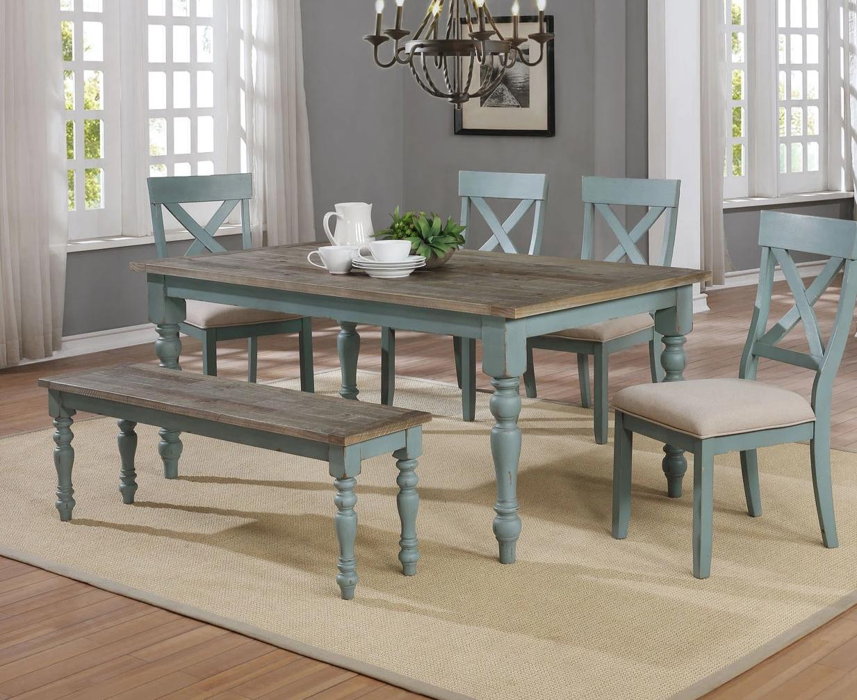 1854 Farmhouse Dining Weathered Finish Tops w/Robins Egg - Table, 4 Chairs and a Bench $795.99