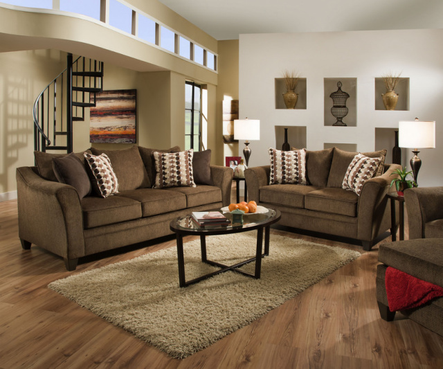 6485 Chestnut Sofa and Loveseat By Simmons $859