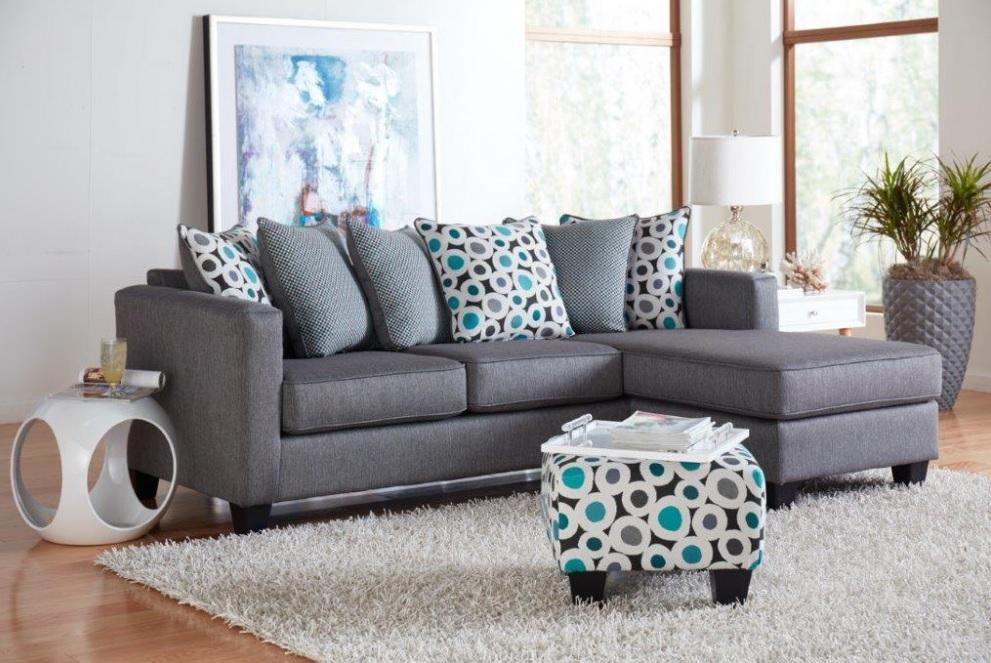 7810 Reversable Sofa with Chaise in Silver, Teal and Geometric Pattern $629.99