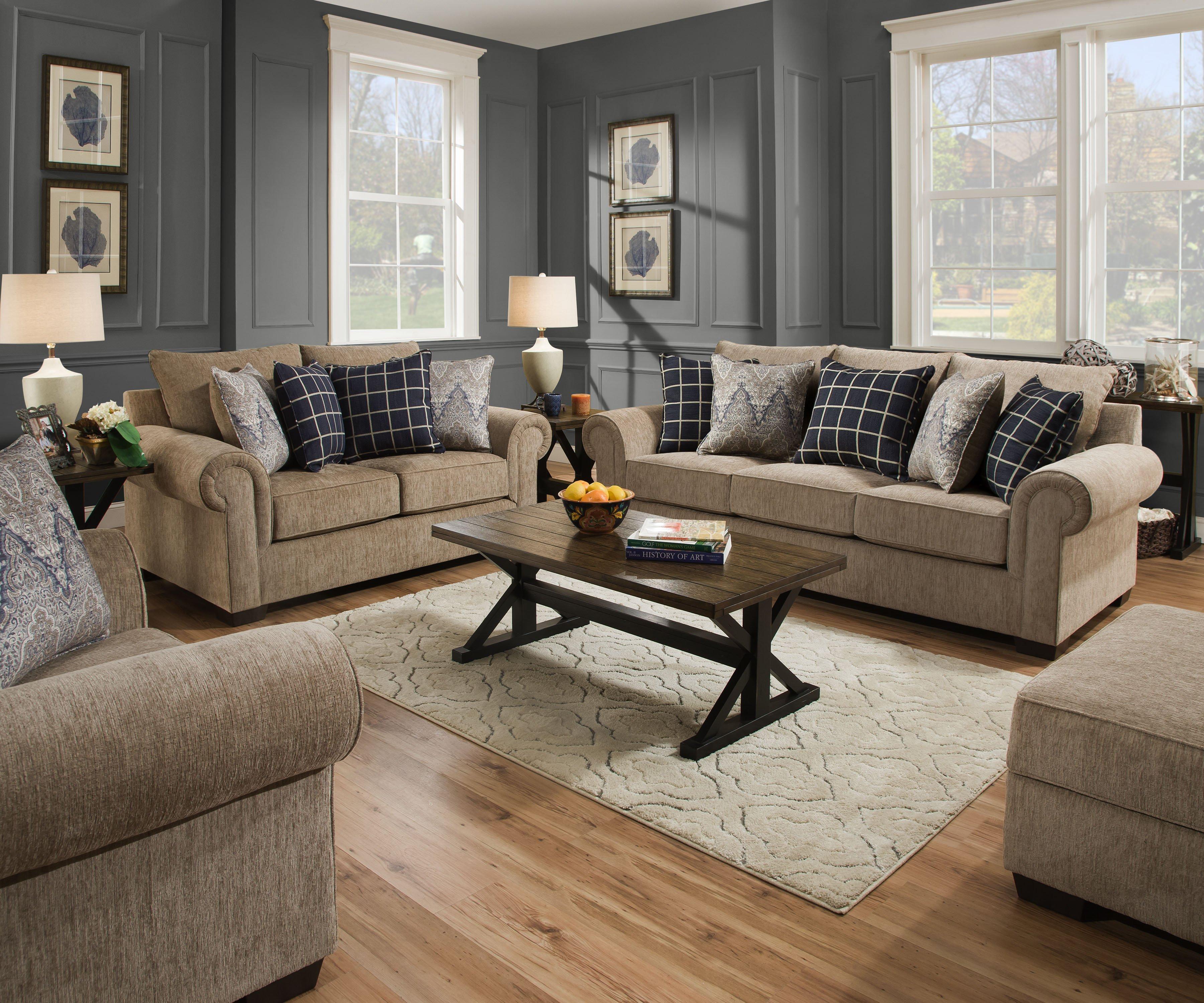 7592 Beautyrest Sofa and Love in Gavin Mushroom $959