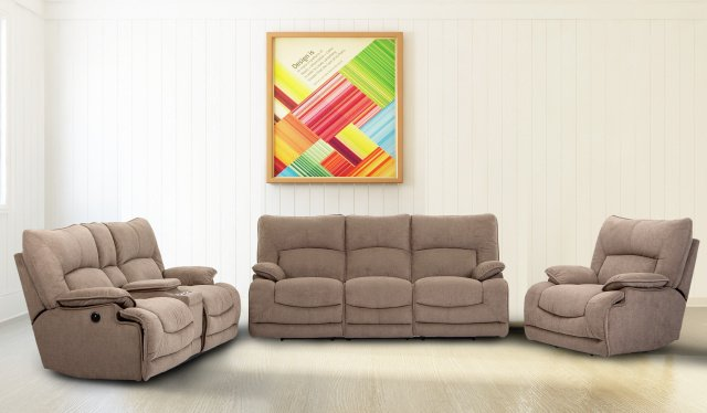 6009 POWER Motion Sofa and Power Motion Console Loveseat in Textured Tan Fabric $1659