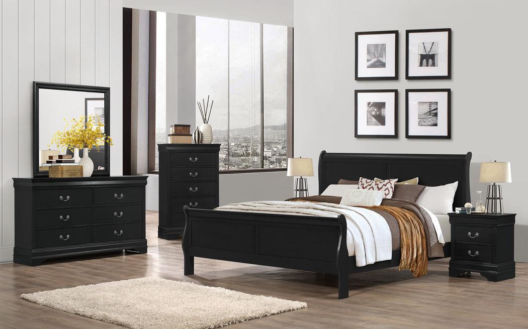 1240 Jet Black Bedroom - 5PC King $895