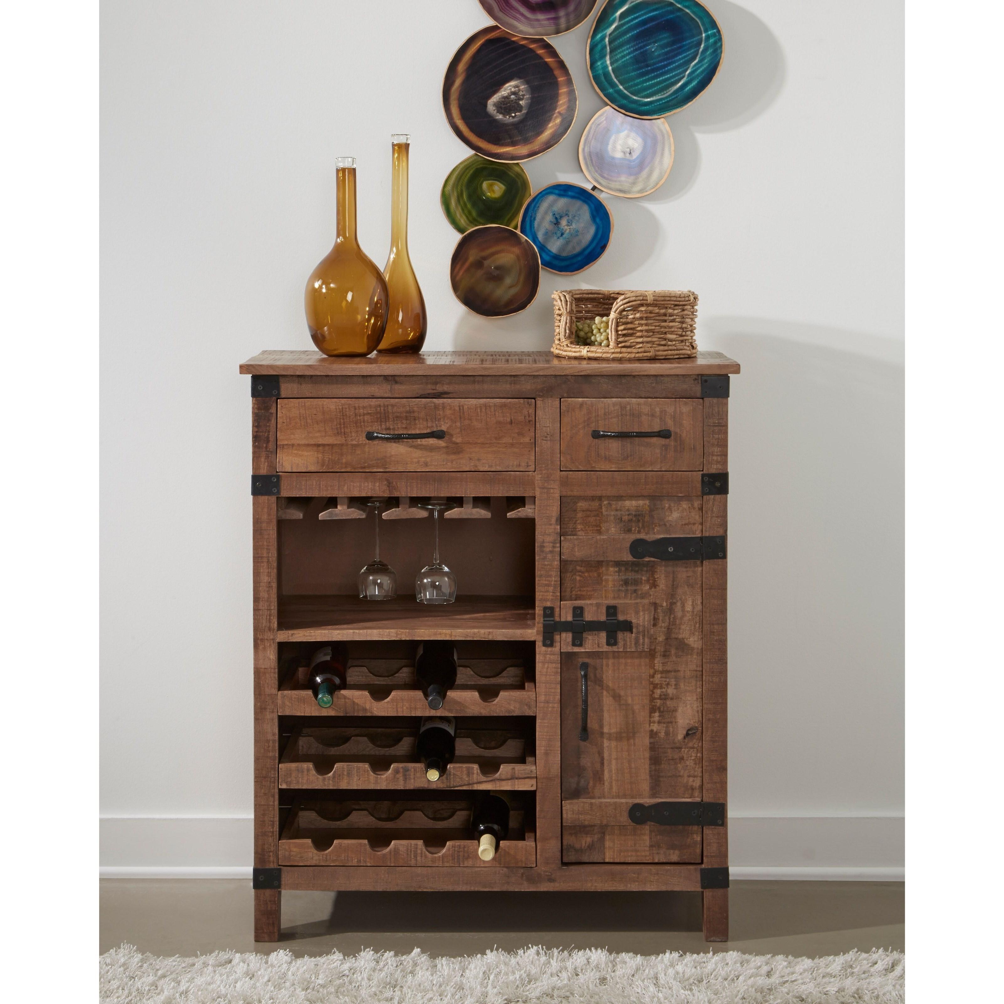 44620 One Door Two Drawer Wine Cabinet $525