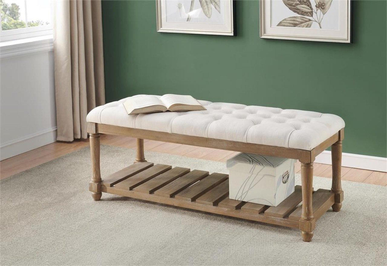 48129 Toffee Brown Tufted Accent Bench $259