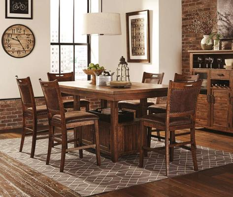 1842 Jonha Counter Height Table 6pc Set - 4 Chairs + High Back Bench $1198