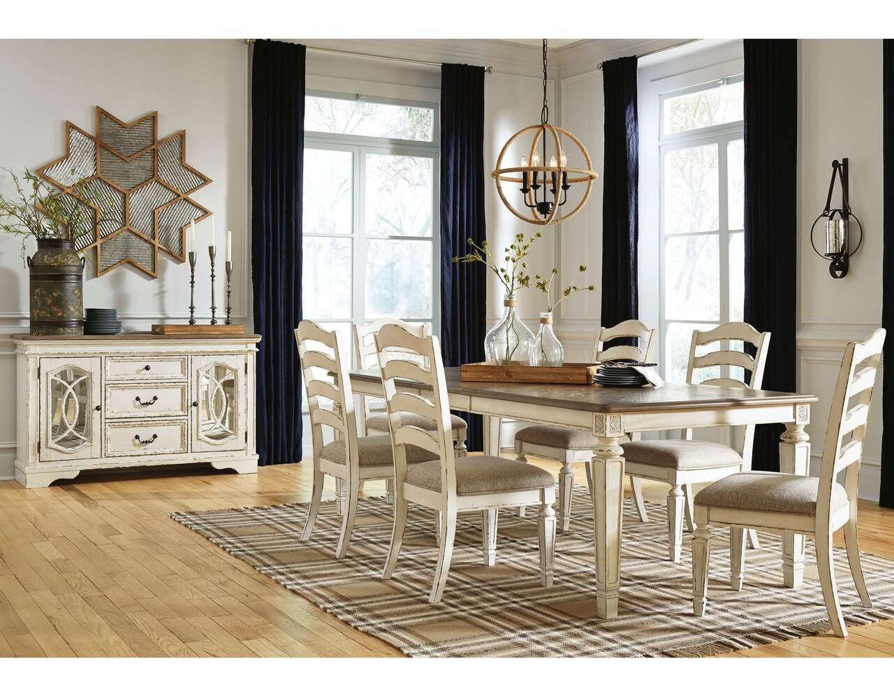 743 Realyn Chipped White Dining Room Set 8 Pcs $2195